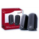 BOXE USB SP-U110 GENIUS BLACK, Stereo USB Power Speakers